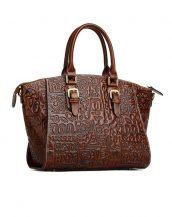 kahverengi kabartma deri tasarım kol çantası sk12457