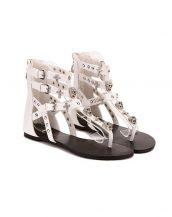 taşlı zımbalı beyaz punk sandalet sk13073