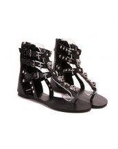 taşlı zımbalı siyah punk sandalet sk13073