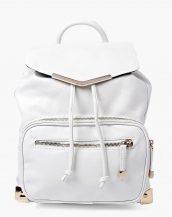 beyaz deri büzgülü sırt çantası sk13233