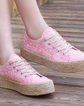 dantel işlemeli pembe espadril ayakkabı sk13524