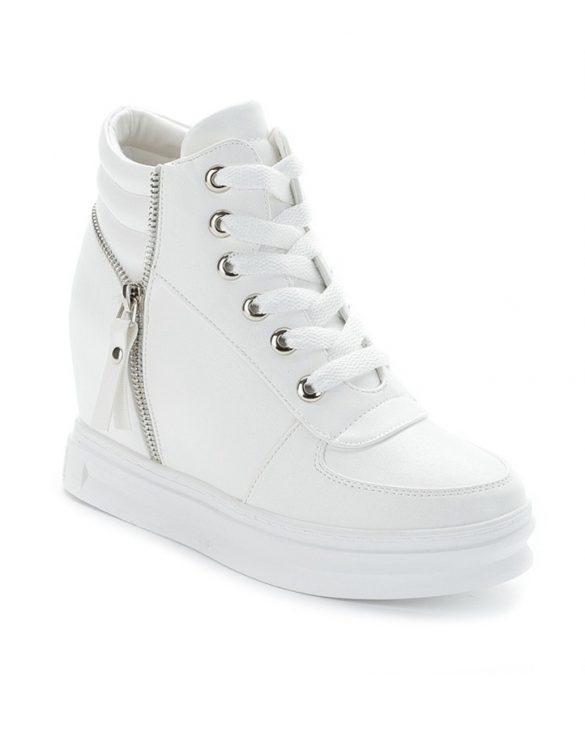 gizli topuklu beyaz bayan sneaker sk13509