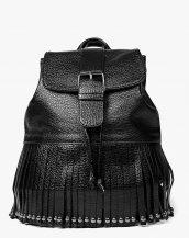 püsküllü siyah kabartma deri sırt çantası sk13239