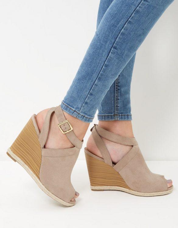 taba süet platform topuk sandalet sk13337