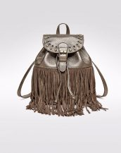 büzgülü püsküllü bronz deri sırt çantası sk13696