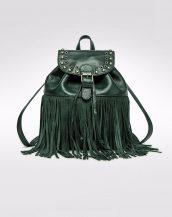 büzgülü püsküllü koyu yeşil deri sırt çantası sk13696
