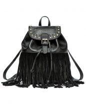 büzgülü püsküllü siyah deri sırt çantası sk13696