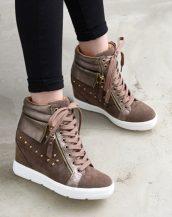 kahverengi zımbalı süet bayan sneakers sk14063