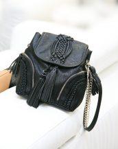 püsküllü zincirli siyah çapraz çanta sk13720