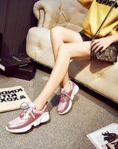 pembe parlak deri bayan spor ayakkabı sk13859