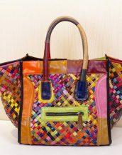 renkli patchwork trapez kol çantası sk13729