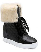 siyah deri içi tüylü bağcıklı sneaker sk14331