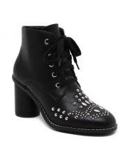 siyah deri zımba ve bağcik detaylı bootie sk14606