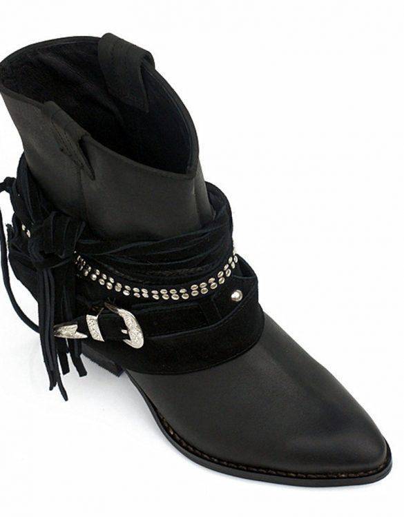 siyah kısa püsküllü bayan kovboy botu sk13956