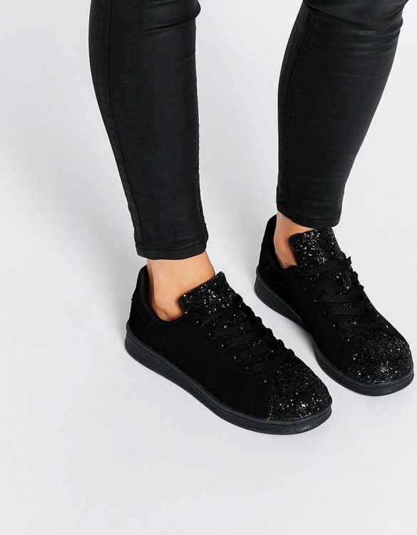 siyah payetli rahat bayan spor ayakkabı sk14695