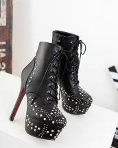 siyah topuklu zımbalı bootie sk14048