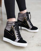 siyah zımbalı süet bayan sneakers sk14063