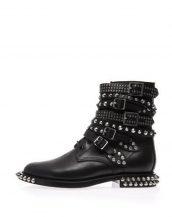 siyah zımbalı tasarım bayan bootie sk13936