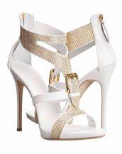 taşlı bantlı tokalı beyaz topuklu sandalet sk13658