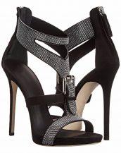 taşlı bantlı tokalı siyah topuklu sandalet sk13658