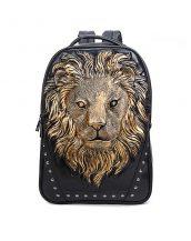 3d altın aslanlı siyah bayan sırt çantası sk16149