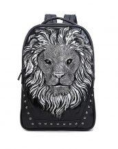 3d gümüş aslanlı siyah bayan sırt çantası sk16149