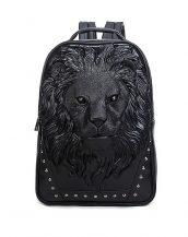 3d siyah aslanlı siyah bayan sırt çantası sk16149