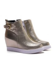 altın parlak deri gizli topuk sneaker sk15357