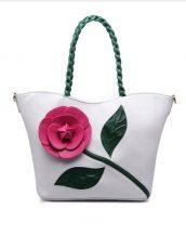 beyaz çiçek tasarım tote çanta sk15294