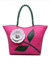 fuşya çiçek tasarım tote çanta sk15294