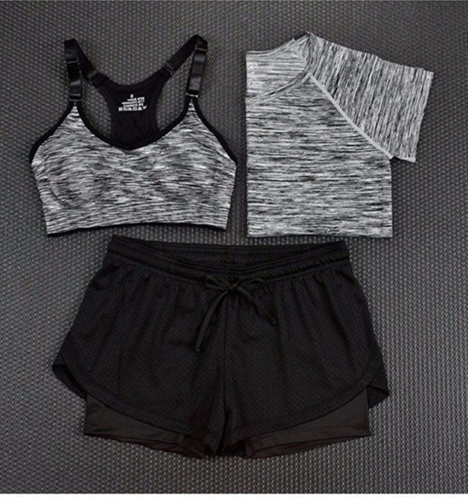 gümüş 3lü takım bayan fitness kıyafeti sk15452