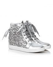 gümüş payetli gizli topuk sneaker sk14960