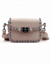 gri renkli zımbalı kol çantası sk14805