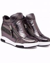 gri zımba detaylı gizli topuk sneaker sk15934
