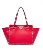 kırmızı renkli zımbalı trapeze çanta sk16375
