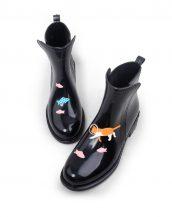 kedi balık baskılı siyah yağmur botu sk16047