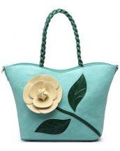 mavi çiçek tasarım tote çanta sk15294