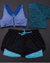 mavi 3lü takım bayan fitness kıyafeti sk15452