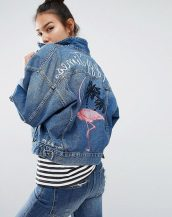 mavi nakış desenli kot ceket sk15322