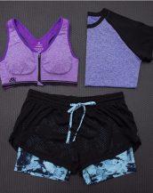 mor 3lü takım bayan fitness kıyafeti sk15452