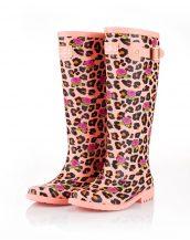 pudra renkli çiçekli bayan yağmur çizmesi sk15972