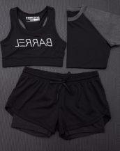 siyah 3lü takım bayan fitness kiyafeti sk15452