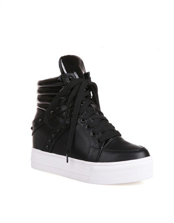 siyah bağcıklı zımbalı deri sneaker sk16333