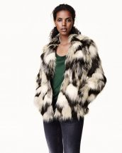 siyah beyaz bayan kürk ceket sk15140