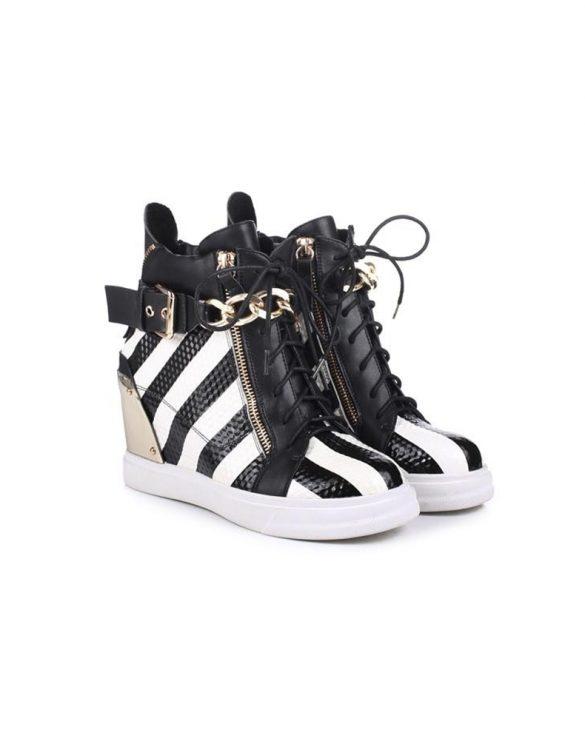 siyah beyaz zincirli sneaker bot sk15980