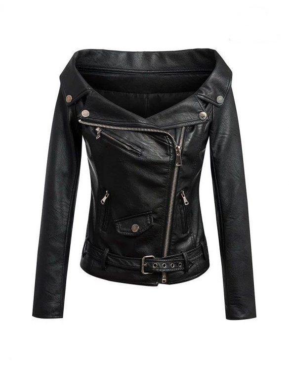 siyah kayık yaka deri ceket sk16439