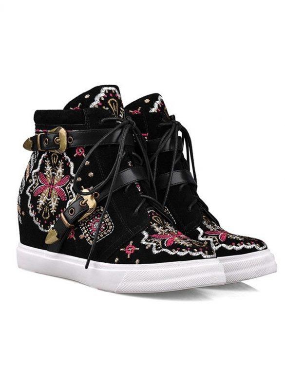 siyah nakış işlemeli gizli topuk sneaker sk15338
