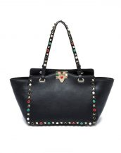 siyah renkli zımbalı trapeze çanta sk16375