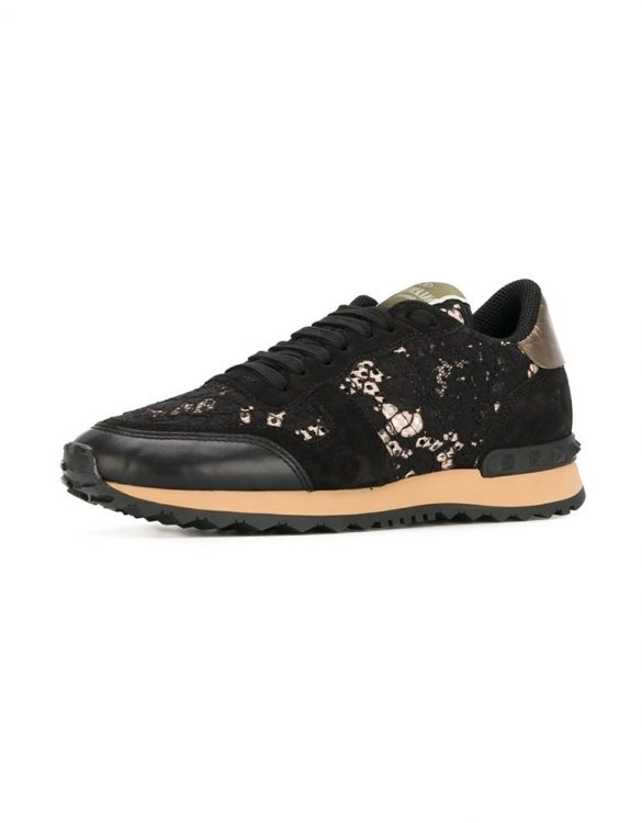 siyah valentino rockrunner dantel sneakers sk15024