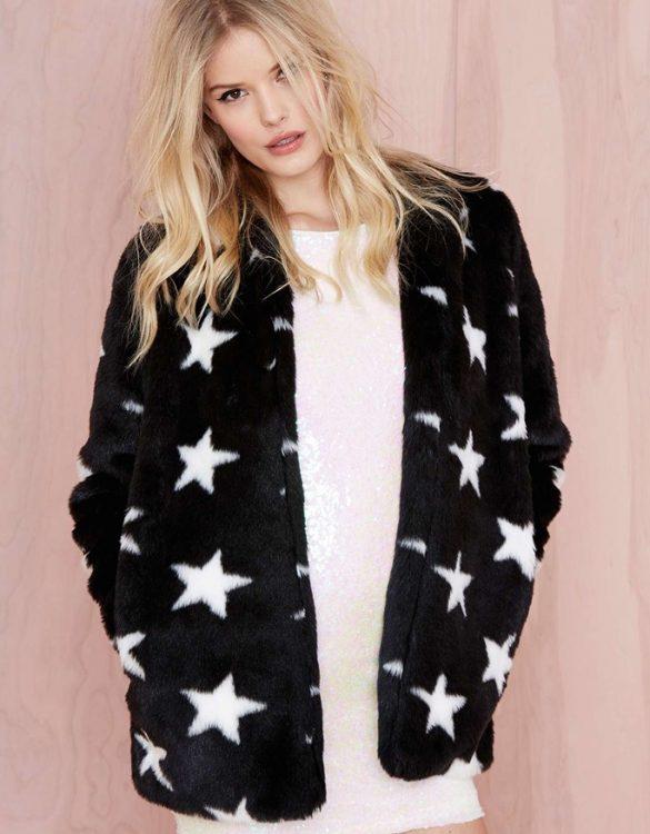 siyah yıldız desenli kürk ceket sk16190